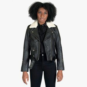 STRAIGHT TO HELL Leather & Wool Commando Jacket XS